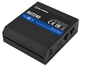 RUT240 Cellular Router, Black with blue stripe.