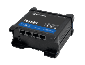 RUT950 Cellular Router, Black with blue stripe.